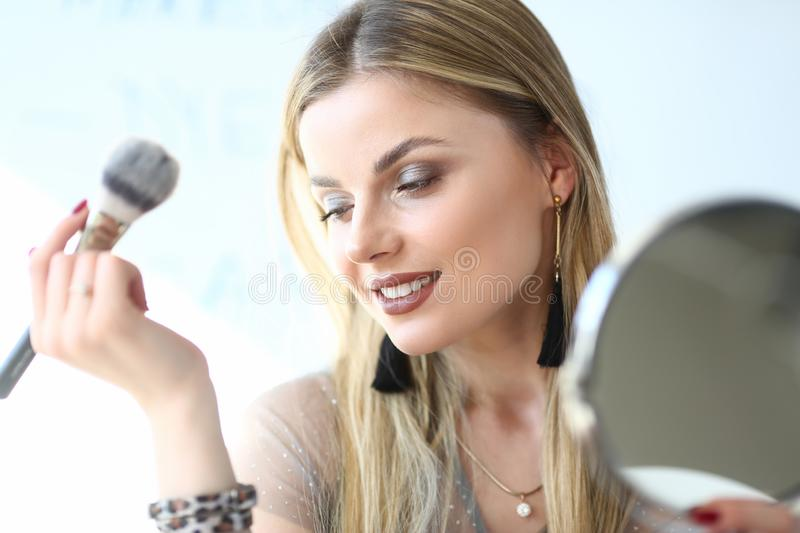 Young Blond Woman Cosmetologist Closeup Portrait stock photography