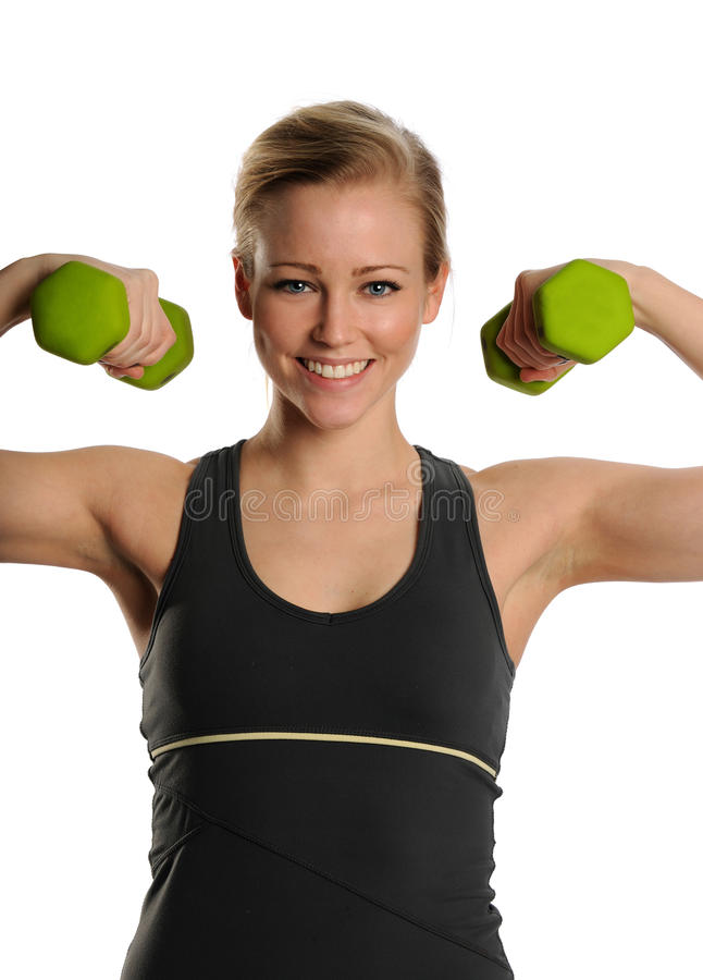 Download Young Blond Woman With Dumbbells Stock Photo - Image: 25391760