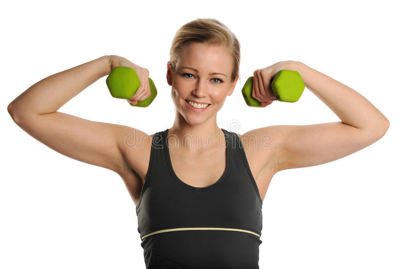 Young Blond Woman with dumbbells