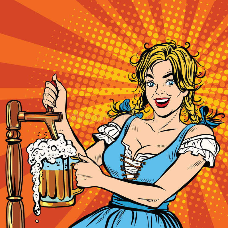 Young blond woman pours a beer, Germany national costume stock illustration
