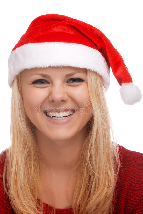 Young blond woman in santa hat