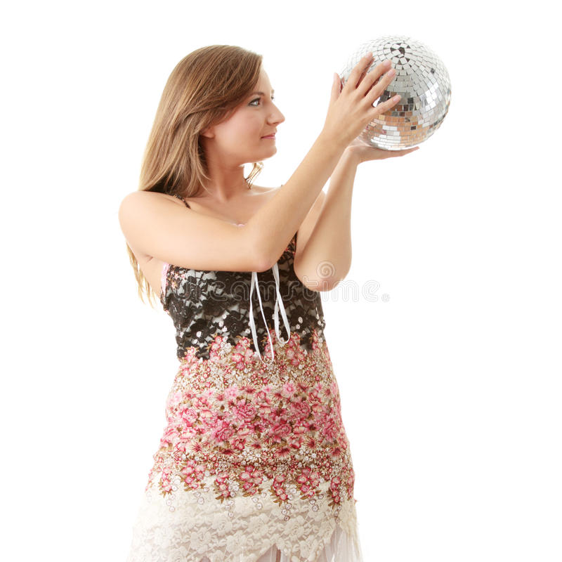 Download Young Blond Women With Disco Ball Stock Image - Image: 10720365