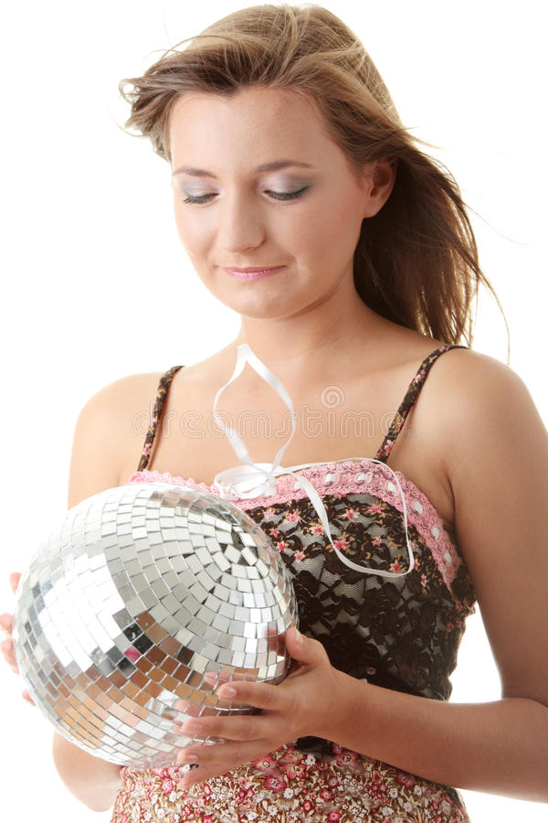 Download Young Blond Women With Disco Ball Stock Image - Image: 10720413