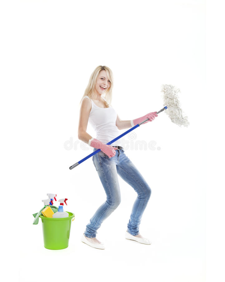 Download Young Blonde Attractive Woman Housecleaning Stock Image - Image: 22192707
