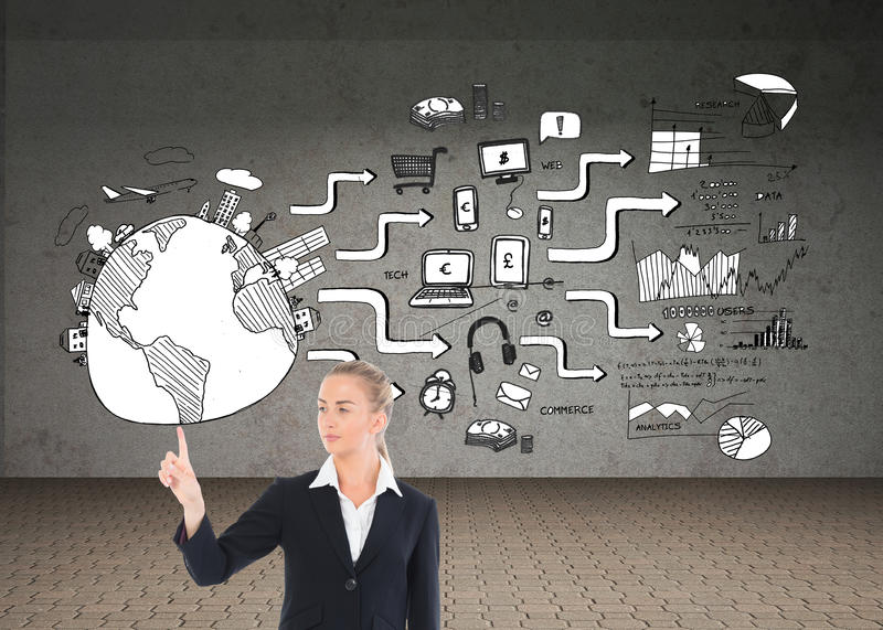 Young blonde business woman pointing. Composite image of young blonde business woman pointing stock photos