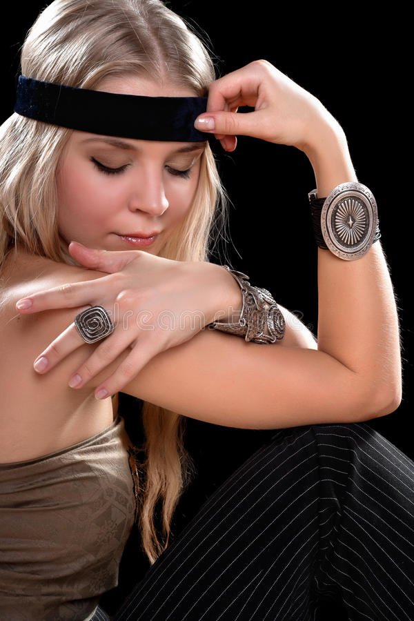 Young Blonde With Closed Eyes Royalty Free Stock Photography