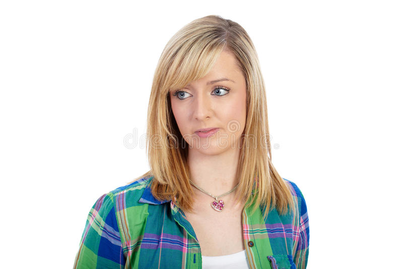 Young blonde female in green shirt, isolated stock image