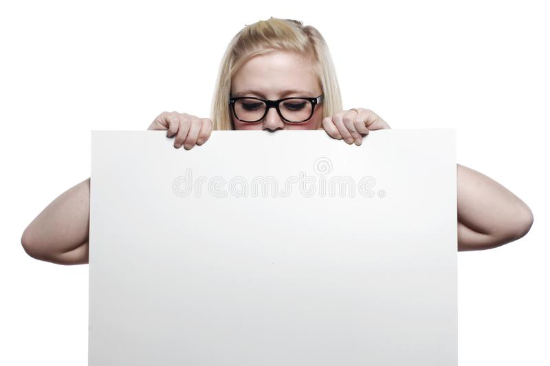 Download Young Blonde Girl Hiding Behind White Board Stock Image - Image of female, board: 9631321