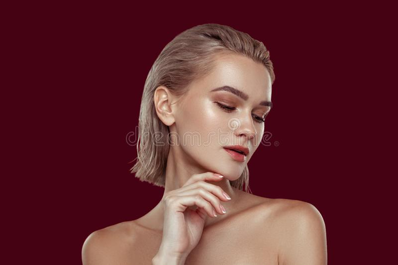 Young blonde-haired model with nice natural makeup stock photo