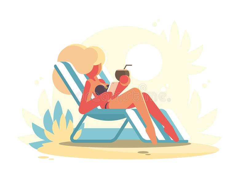 Young blonde lying on chaise longue. On beach. Vector illustration royalty free illustration