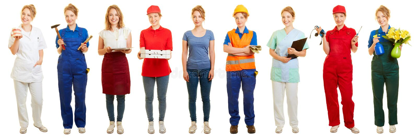 Woman decides for side job or mini job. Young blonde woman decides for side job or mini job stock photo