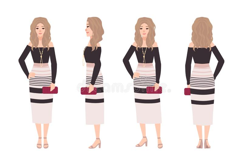 Young blonde woman dressed in fashionable clothes. Pretty girl wearing dress and holding clutch bag. Stylish outfit vector illustration