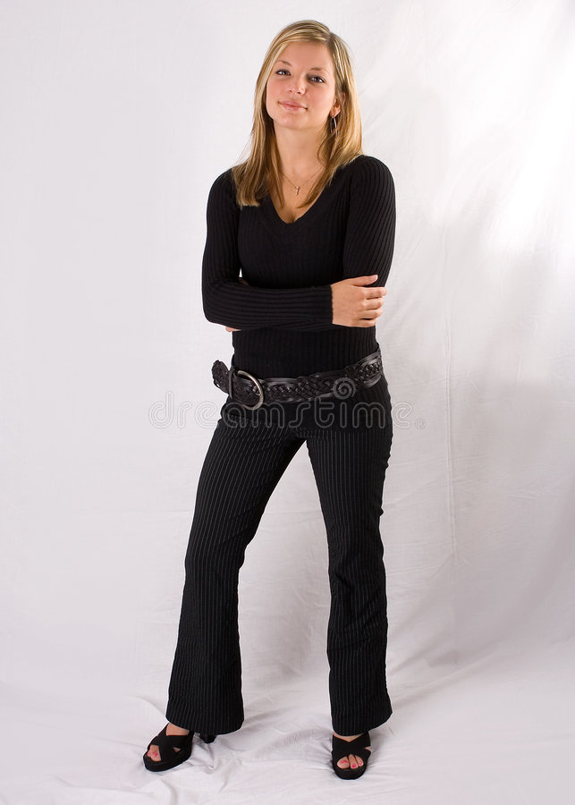 Download Young Blonde Woman Full-length Portrait Black Outfit Stock Image - Image: 857197