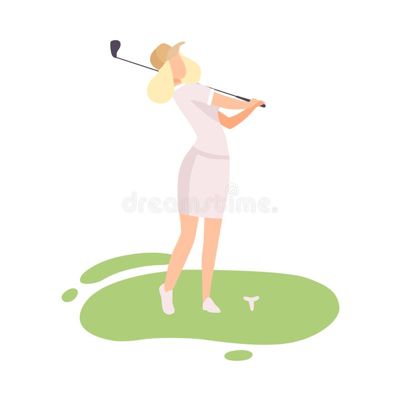 Young Blonde Woman Playing Golf, Female Golfer Training with Golf Club on Course with Green Grass, Outdoor Sport or stock illustration