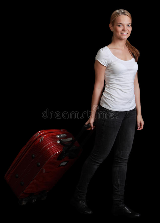 Download Young Woman Traveler stock photo. Image of suitcase, adult - 30304992