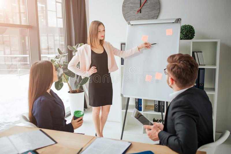 Young blonde woman making presenttion in meeting room. Her colleagues listen to her. They sit at table and look at. Young blonde women making presenttion in stock photos