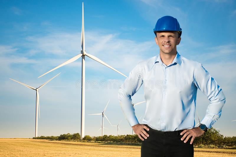 Young worker or engineer in protective helmet. stock photography