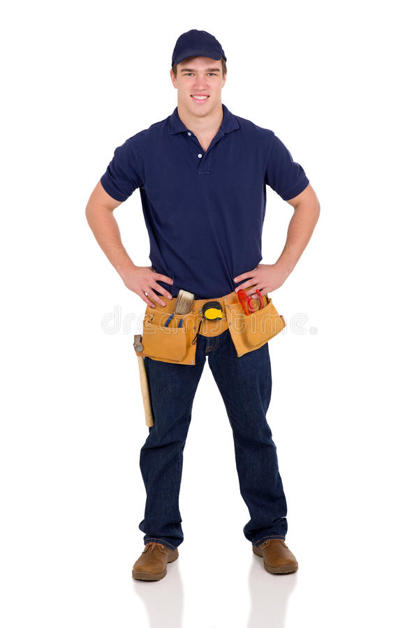 Young blue collar worker stock photography