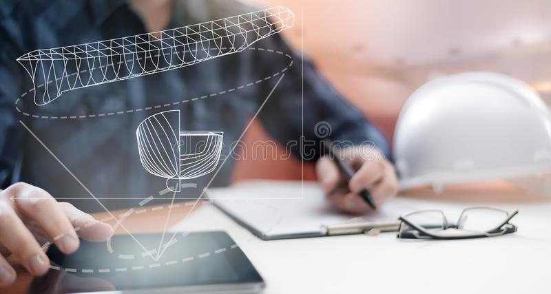 Young blurred sub-designer sitting in the office and designing ship for future construction, with digital drawing on tablet PC. Young blurred sub-designer stock illustration