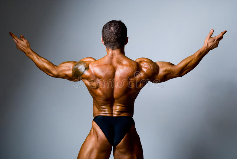 Young bodybuilder showing his biceps. On a gray background stock photography