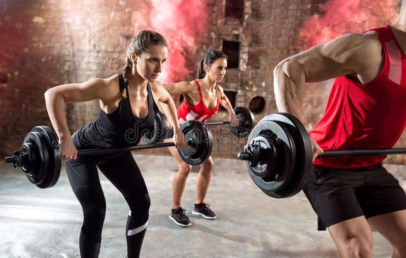 Young bodybuilders have training royalty free stock images