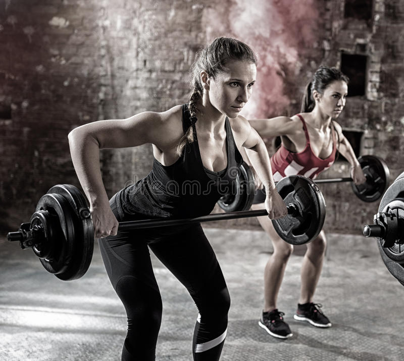 Young bodybuilders have training stock images