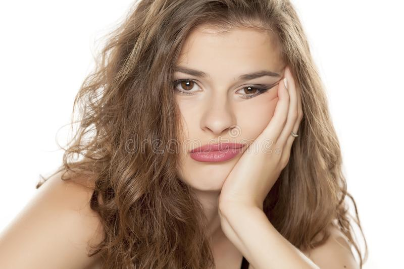 Young bored woman royalty free stock photo