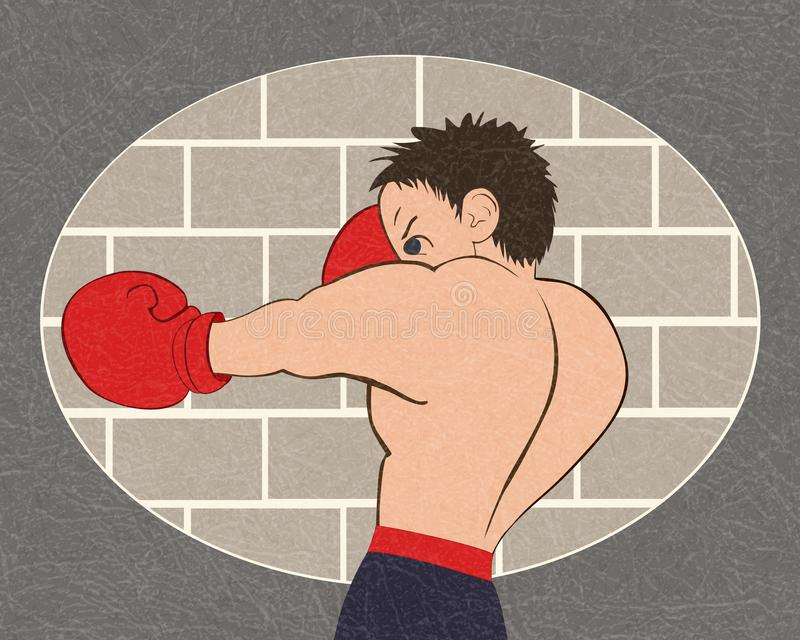 Young boxer in blue shorts trained against a brick wall, vector with noise and texture, marble textured background. Young boxer in blue shorts trained against a stock illustration