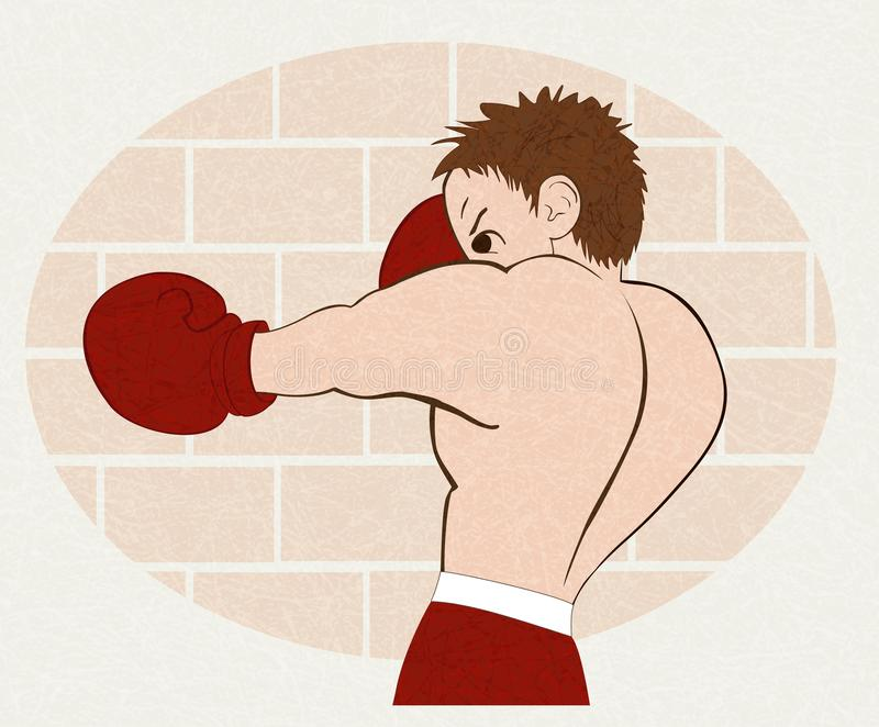 Young boxer in red shorts trained against a brick wall, vector with noise and texture, marble textured background. stock illustration