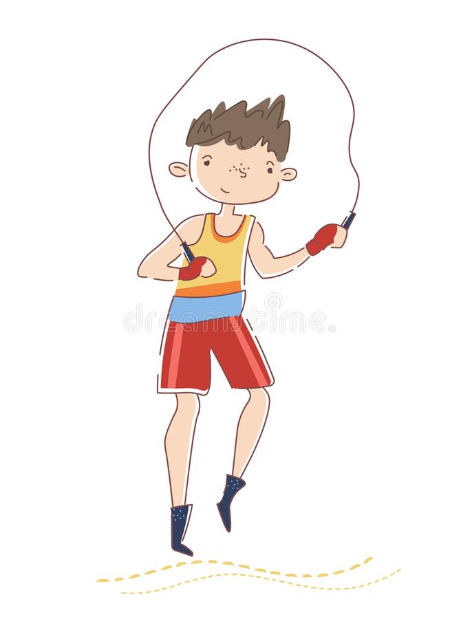 Young boxer training in gym. Smiling caucasian sportsman is jumping on rope. Concept of professional sport. Guy stock illustration