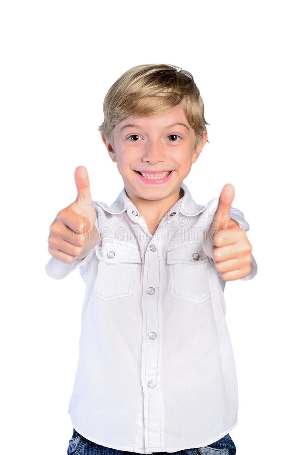 Young boy agree. On white background stock photography