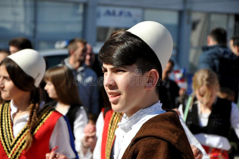 Young boy in albanian traditional costume at a ceremony marking the 10th anniversary of Kosovo`s independence in Dragash. Boy in albanian traditional costume, at royalty free stock photo