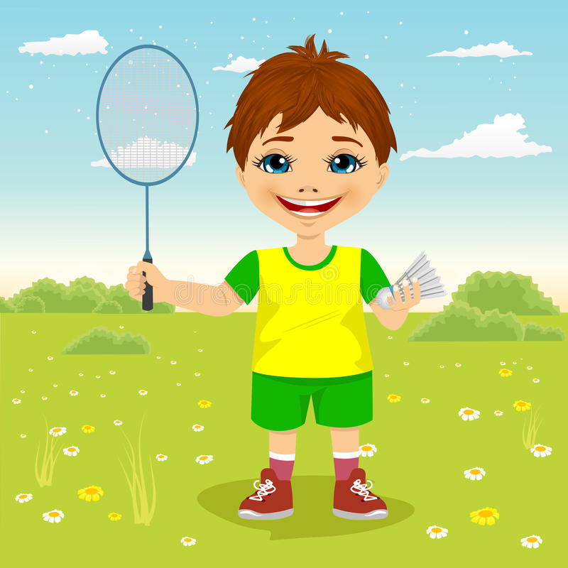 Young boy with badminton racket and shuttlecocks. Outside stock illustration