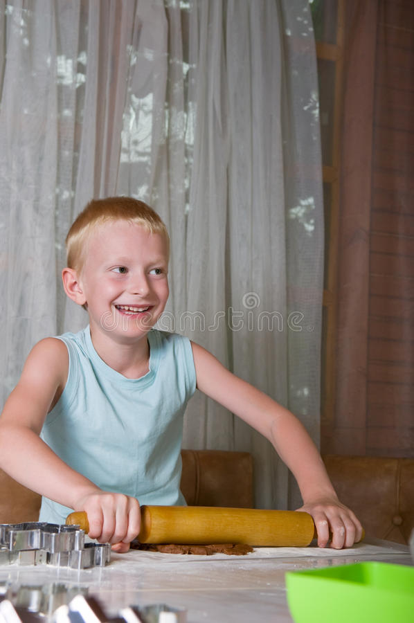 Download Young boy baking cookies stock photo. Image of elementary - 26226696