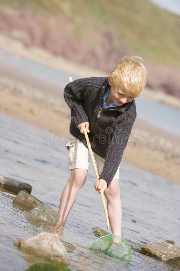 Young boy at beach with net smiling stock photo