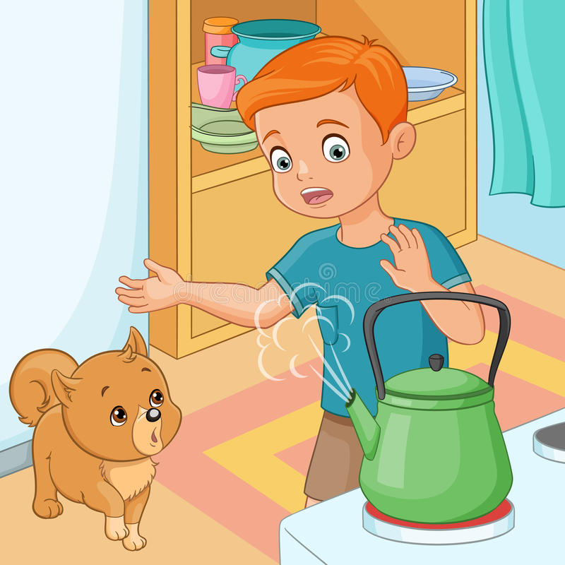 Young boy being wary of hot kettle. Vector illustration. stock illustration