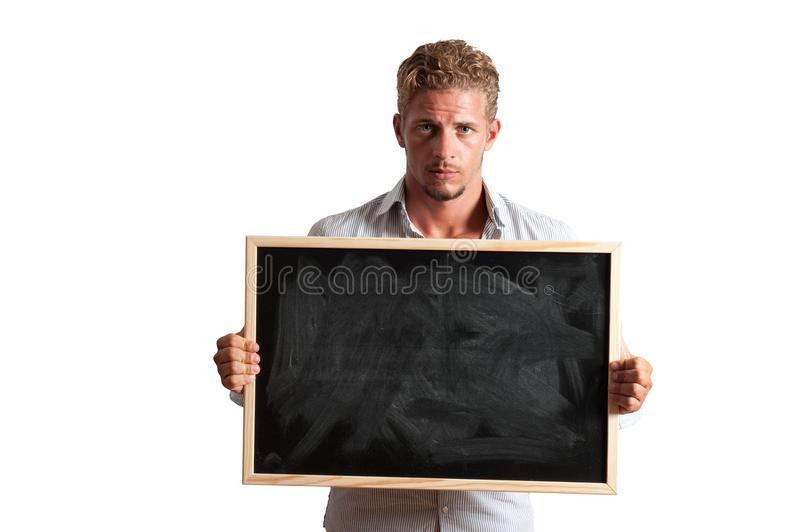 Download Young boy with blackboard stock image. Image of work - 28689583