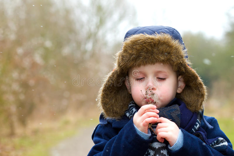 Young boy blowing seeds on a cold winters day royalty free stock photos