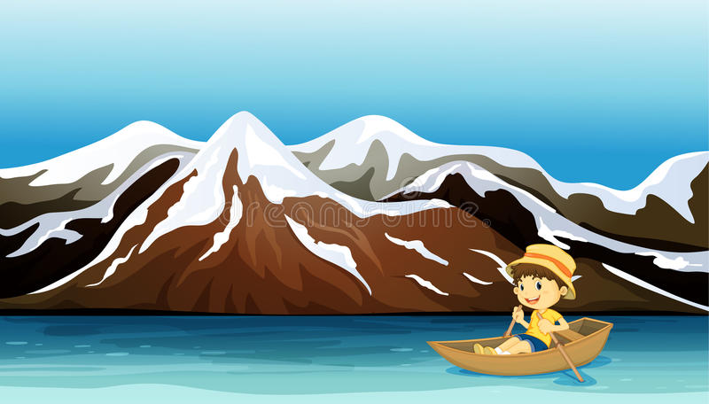 A young boy boating. Illustration of a boy boating along the snowy mountain stock illustration