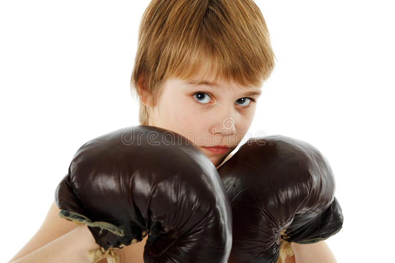 Young Boy Boxer with Boxing Gloves stock photography