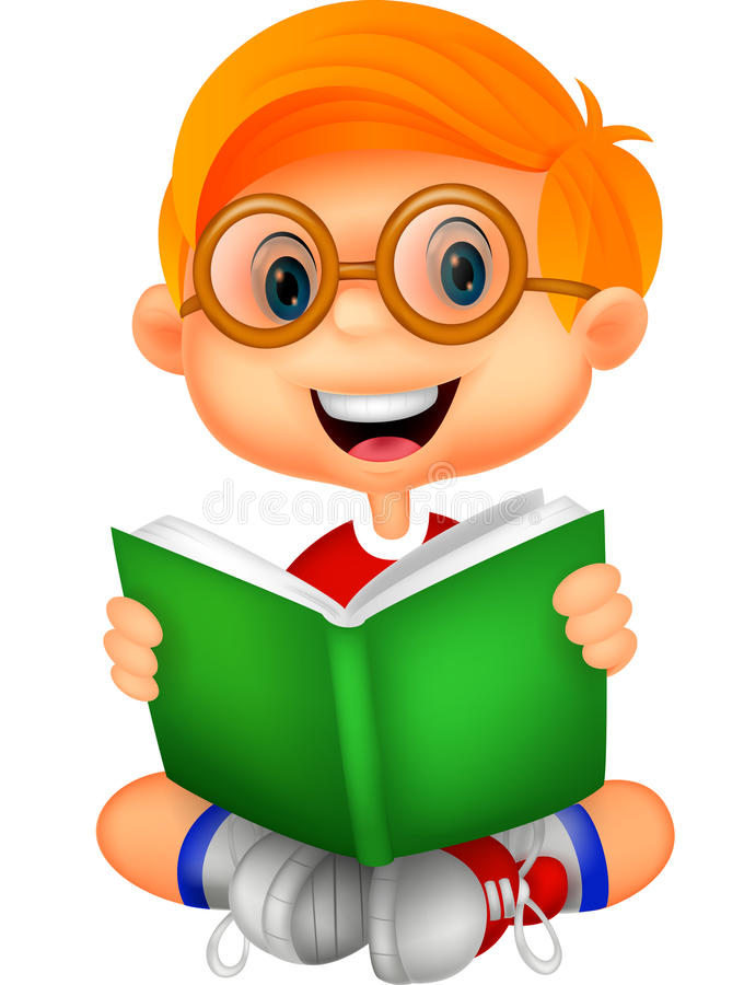 Young boy cartoon reading book. Illustration of Young boy cartoon reading book royalty free illustration