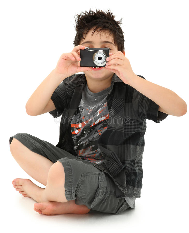 Young Boy Child Photographer with Digital Camera royalty free stock image