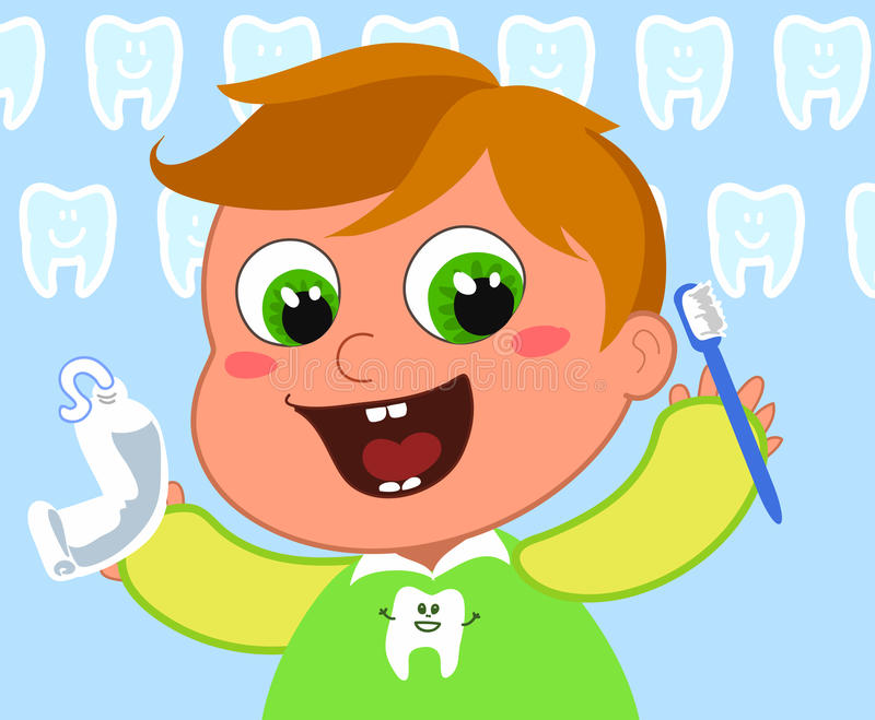 Young boy cleaning teeth