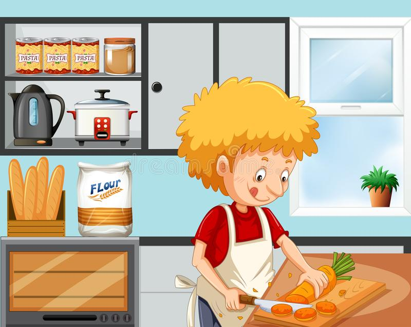 Young boy cooking in the kitchen stock illustration