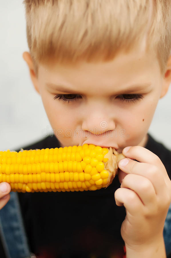 Young boy with corn on the cob in the backyard. A boy happy ab stock photo