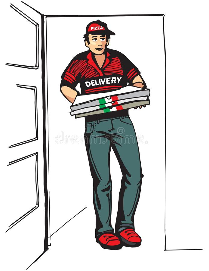 Young boy delivering hot pizzas Pizza box. Deliver boy. vector illustration