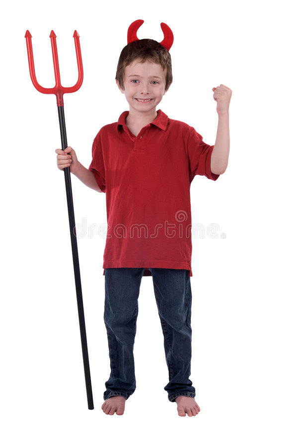 Young boy in a devil costume stock photos