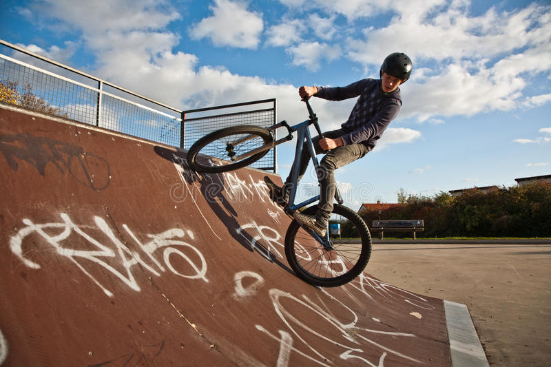Download Young Boy With Dirtbike In Halfpipe Stock Photo - Image: 14019336