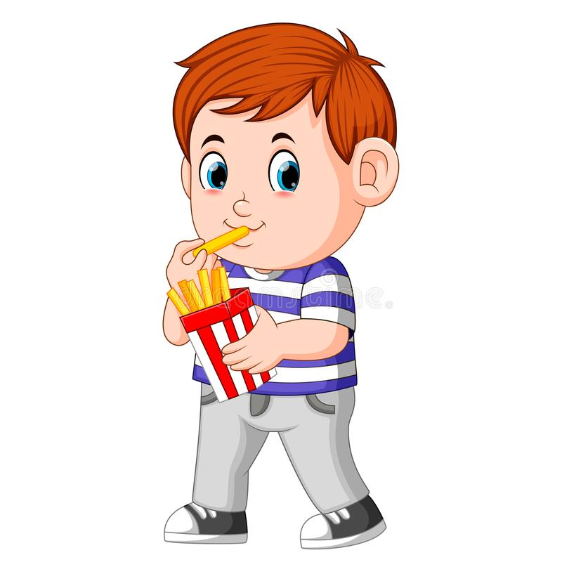 Young boy eating french fries royalty free illustration
