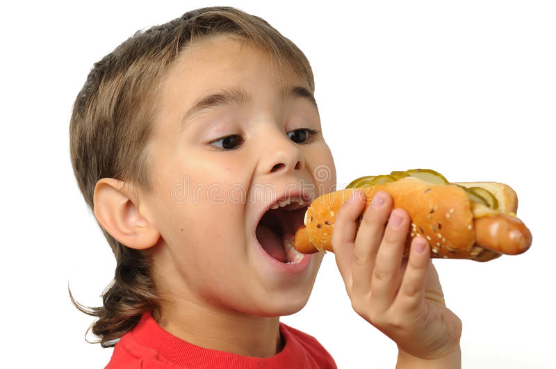 Download Young boy eating a hotdog stock image. Image of person - 10986897